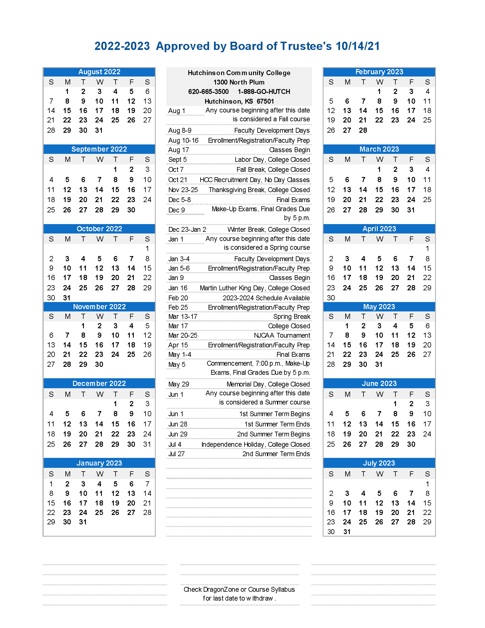 Academic Calendar - 2022-2023