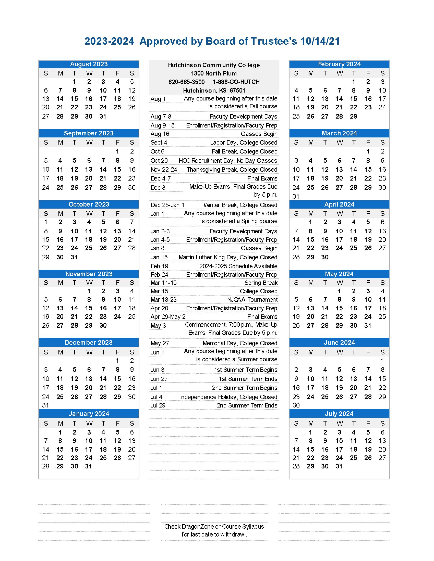 Academic Calendar - 2023-2024